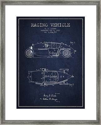 1917 Racing Vehicle Patent - Navy Blue Framed Print by Aged Pixel