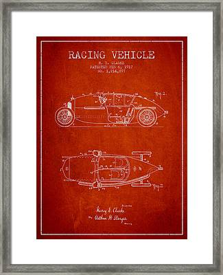 1917 Racing Vehicle Patent - Red Framed Print by Aged Pixel
