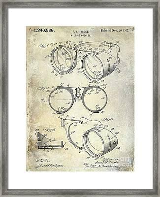 1917 Welders Goggles Patent  Framed Print by Jon Neidert