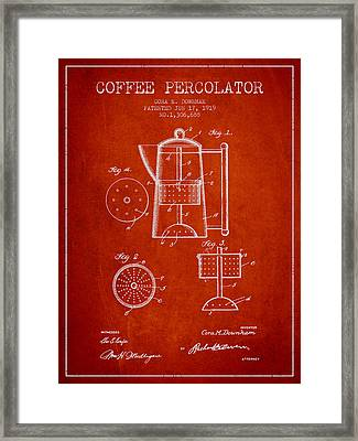 1919 Coffee Percolator Patent - Red Framed Print by Aged Pixel