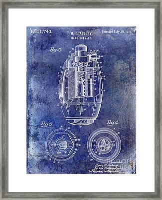 1919 Hand Grenade Patent Blue Framed Print by Jon Neidert