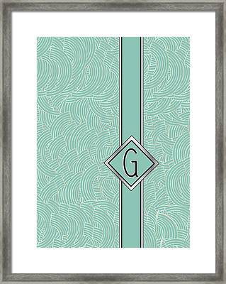 1920s Blue Deco Jazz Swing Monogram ...letter G Framed Print by Cecely Bloom