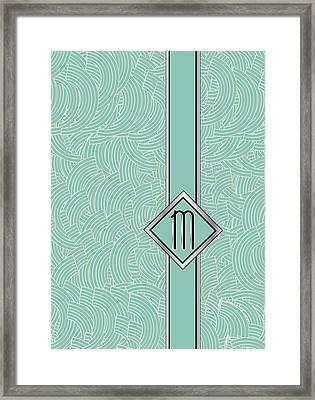 1920s Blue Deco Jazz Swing Monogram ...letter M Framed Print by Cecely Bloom