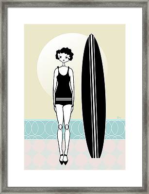 1920s Surfer Flapper  Girl  Framed Print by Cecely Bloom