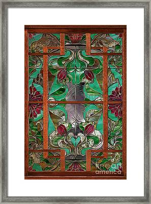 1922 Art Nouveau Stained Glass Panel Framed Print by Mindy Sommers