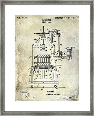 1922 Wine Press Patent Framed Print by Jon Neidert