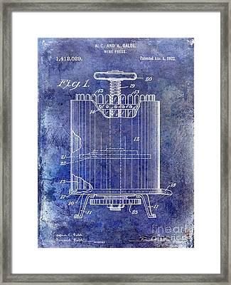 1922 Wine Press Patent Blue Framed Print by Jon Neidert