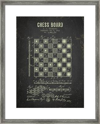 1923 Chess Board Patent - Dark Grunge Framed Print by Aged Pixel