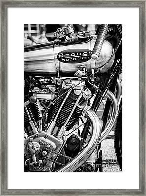 1924 Brough Superior Brooklands Racer Monochrome Framed Print by Tim Gainey