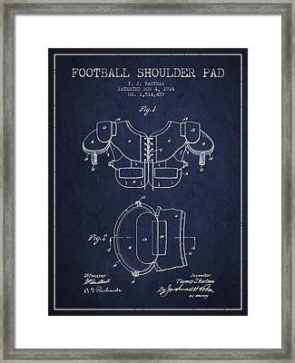 1924 Football Shoulder Pad Patent - Navy Blue Framed Print by Aged Pixel