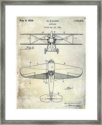 1929 Airplane Patent Framed Print by Jon Neidert