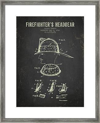 1926 Firefighters Headgear Patent - Dark Grunge Framed Print by Aged Pixel
