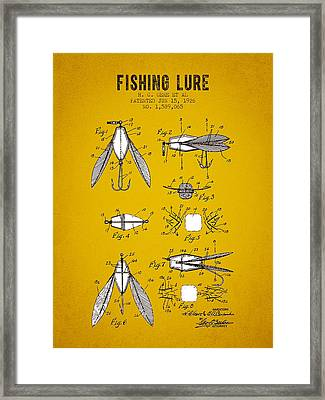 1926 Fishing Lure Patent - Yellow Brown Framed Print by Aged Pixel