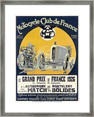 1926 Motorcycle Club De France Framed Print by Jon Neidert