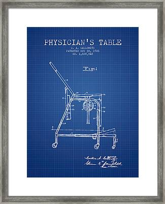 1926 Physicians Table Patent - Blueprint Framed Print by Aged Pixel