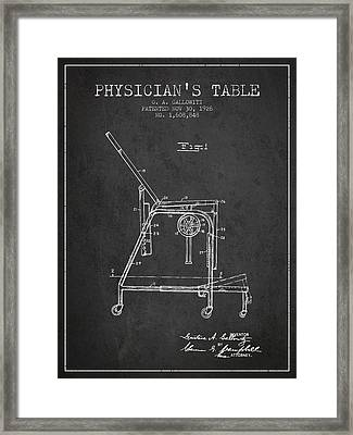 1926 Physicians Table Patent - Charcoal Framed Print by Aged Pixel