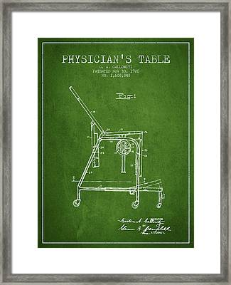 1926 Physicians Table Patent - Green Framed Print by Aged Pixel