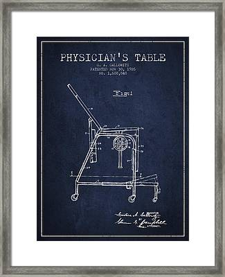 1926 Physicians Table Patent - Navy Blue Framed Print by Aged Pixel