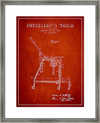 1926 Physicians Table Patent - Red Framed Print by Aged Pixel