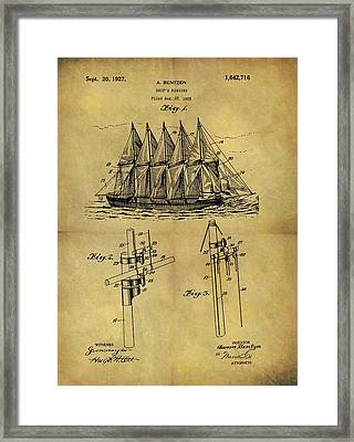 1927 Sail Ship Patent Framed Print by Dan Sproul