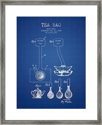 1928 Tea Bag Patent 02 - Blueprint Framed Print by Aged Pixel