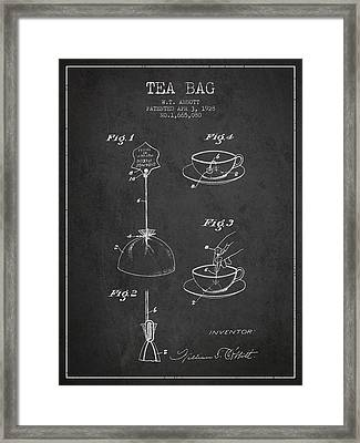 1928 Tea Bag Patent - Charcoal Framed Print by Aged Pixel