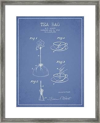 1928 Tea Bag Patent - Light Blue Framed Print by Aged Pixel