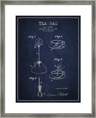 1928 Tea Bag Patent - Navy Blue Framed Print by Aged Pixel