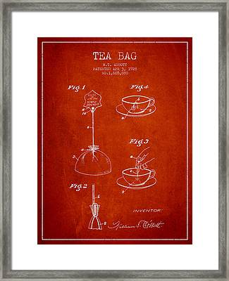 1928 Tea Bag Patent - Red Framed Print by Aged Pixel