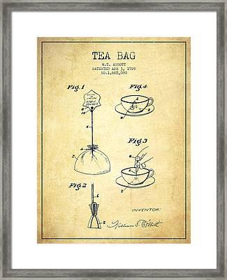 1928 Tea Bag Patent - Vintage Framed Print by Aged Pixel