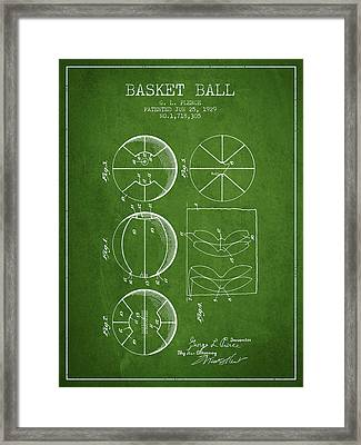 1929 Basket Ball Patent - Green Framed Print by Aged Pixel