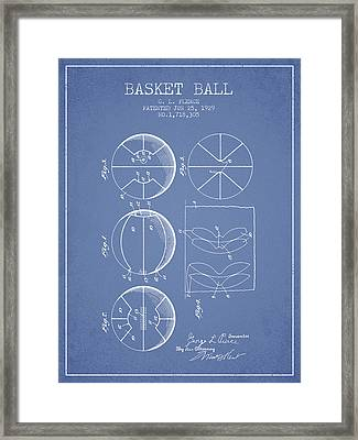 1929 Basket Ball Patent - Light Blue Framed Print by Aged Pixel