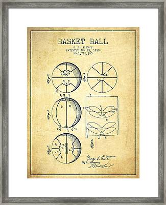 1929 Basket Ball Patent - Vintage Framed Print by Aged Pixel