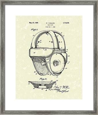 1929 Patent Art Vintage Helmet Framed Print by Prior Art Design