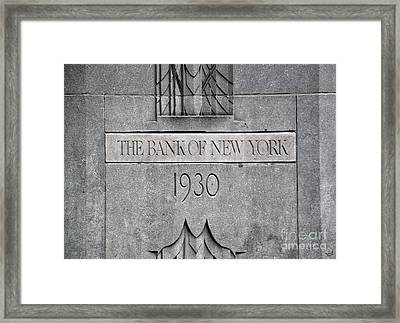 1930 Bank Of New York Sign Framed Print by Nishanth Gopinathan