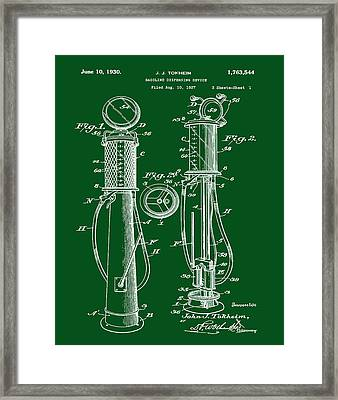 1930 Gas Pump Patent In Green Framed Print by Bill Cannon
