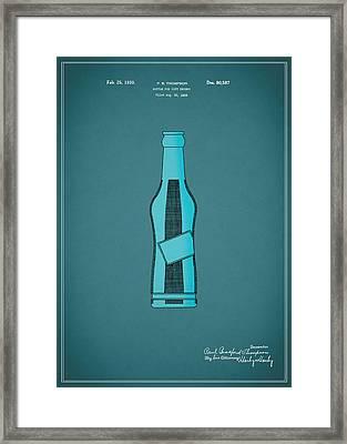 1930 Pepsi Cola Bottle Patent Framed Print by Mark Rogan