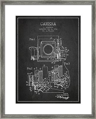 1931 Camera Patent - Charcoal Framed Print by Aged Pixel
