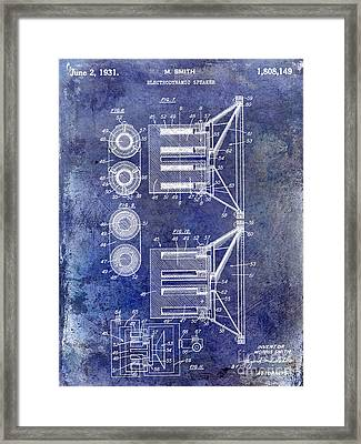 1931 Speaker Patent Drawing Blue Framed Print by Jon Neidert