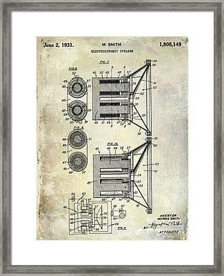 1931 Speaker Patent Drawing  Framed Print by Jon Neidert
