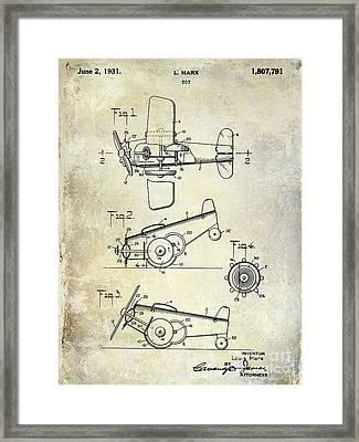 1931 Toy Airplane Patent Framed Print by Jon Neidert