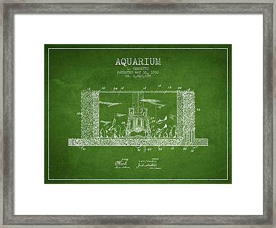 1932 Aquarium Patent - Green Framed Print by Aged Pixel