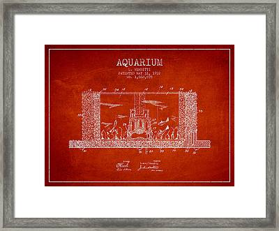 1932 Aquarium Patent - Red Framed Print by Aged Pixel