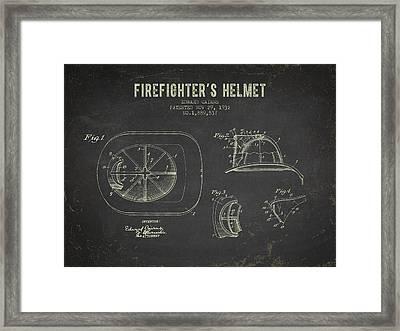 1932 Firefighters Helmet Patent - Dark Grunge Framed Print by Aged Pixel
