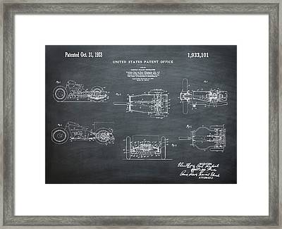 1933 Indian Motor Tricycle Patent Chalk Framed Print by Bill Cannon