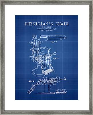 1933 Physicians Chair Patent - Blueprint Framed Print by Aged Pixel