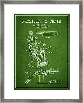 1933 Physicians Chair Patent - Green Framed Print by Aged Pixel