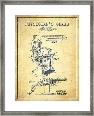 1933 Physicians Chair Patent - Vintage Framed Print by Aged Pixel