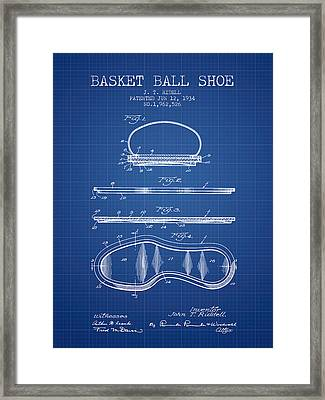 1934 Basket Ball Shoe Patent - Blueprint Framed Print by Aged Pixel