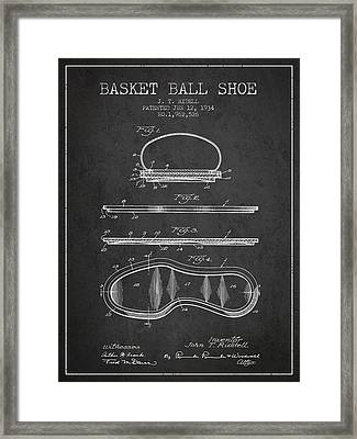 1934 Basket Ball Shoe Patent - Charcoal Framed Print by Aged Pixel